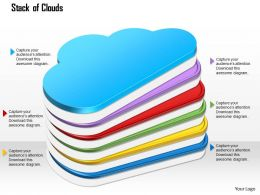 1114 Stack Of Glossy Rainbow Colored Cloud Ppt Slide