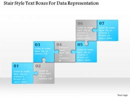 1114 Stair Style Text Boxes For Data Representation PowerPoint Template