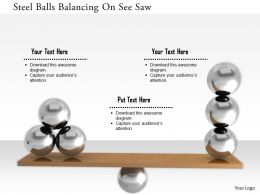 1114 Steel Balls Balancing On See Saw Image Graphic For Powerpoint
