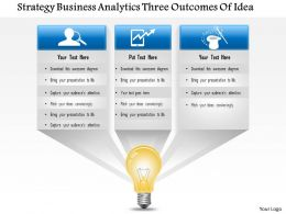 1114 Strategy Business Analytics 3 Outcomes Of Idea Powerpoint Presentation
