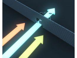1114 Strong Blue Arrow Breaking Brick Wall Stock Photo