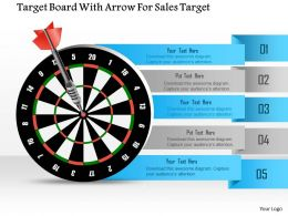 1114 Target Board With Arrow For Sales Target Powerpoint Template