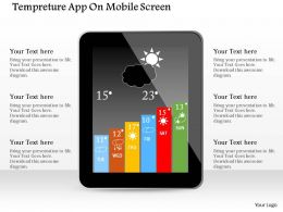 1114 Temperature App On Mobile Screen Powerpoint Template