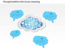 1114 Thought Bubbles With Cloud Computing In The Middle With Social Icons Ppt Slide