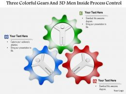 1114 Three Colorful Gears And 3d Men Inside Process Control Ppt Graphics Icons
