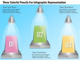 1114 Three Colorful Pencils For Infographic Representation Powerpoint Template