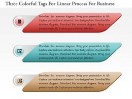 1114 Three Colorful Tags For Linear Process For Business Powerpoint Template