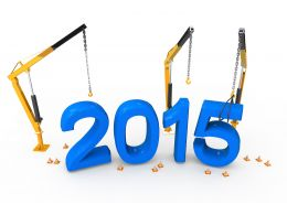 1114 Three Cranes With 2015 Year Text Stock Photo