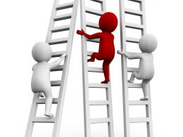 1114 Three Man Climbing On Stairs For Getting Success And Leadership Stock Photo