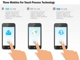1114 Three Mobiles For Touch Process Technology PowerPoint Template