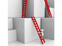 1114 Three Red Ladders On Cubes With 3d Man Climbing For Success Stock Photo