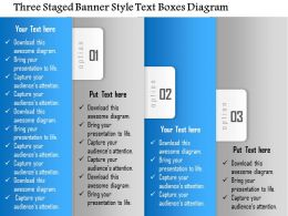 1114 Three Staged Banner Style Text Boxes Diagram Powerpoint Template