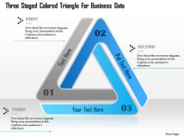 1114 Three Staged Colored Triangle For Business Data Powerpoint Template