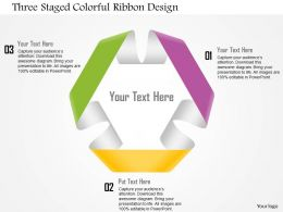 1114 Three Staged Colorful Ribbon Design Powerpoint Template