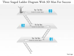 1114 Three Staged Ladder Diagram With 3d Man For Success PowerPoint Template