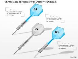 1114 Three Staged Process Flow In Dart Style Diagram Powerpoint Template