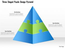 1114 Three Staged Puzzle Design Pyramid Powerpoint Template