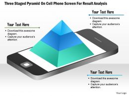 1114 Three Staged Pyramid On Cell Phone Screen For Result Analysis Powerpoint Template