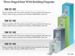 1114 Three Staged Stair With Building Diagram Powerpoint Template
