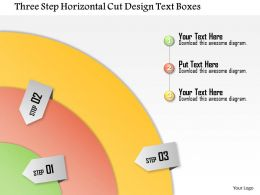 1114 Three Step Horizontal Cut Design Text Boxes Powerpoint Template