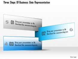 1114 Three Steps Of Business Data Representation Powerpoint Template