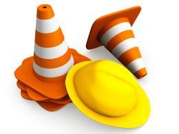 1114 Traffic Cones And Yellow Helmet For Safety Stock Photo