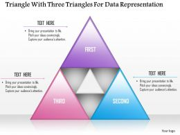 1114 Triangle With Three Triangles For Data Representation PowerPoint Template