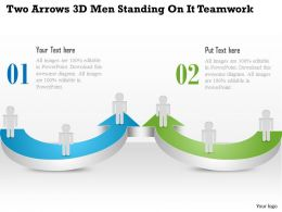 1114 Two Arrows 3d Men Standing On It Teamwork Powerpoint Template