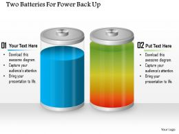 1114 Two Batteries For Power Back Up Powerpoint Template