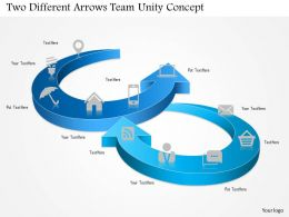 1114 Two Different Arrows Team Unity Concept Powerpoint Template