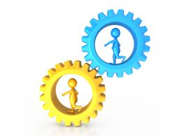 1114 Two Gears And 3d Men Inside Process Control Stock Photo