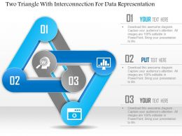1114 Two Triangle With Interconnection For Data Representation Powerpoint Template