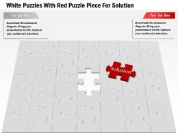 1114 White Puzzles With Red Puzzle Piece For Solution Powerpoint Template