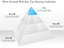 1114 White Pyramid With Blue Top Showing Leadership Powerpoint Template
