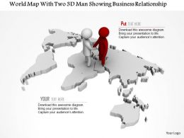 1114 World Map With Two 3d Man Showing Business Relationship Ppt Graphics Icons