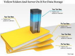 1114 Yellow Folders And Server On It For Data Storage Image Graphics For Powerpoint