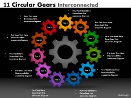 11 Circular Gears Interconnected