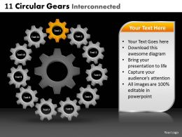 11 Circular Gears Interconnected Powerpoint Slides And Ppt Templates DB
