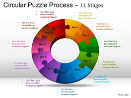11 Components Circular Puzzle Process Powerpoint Slides And ppt Templates 0412