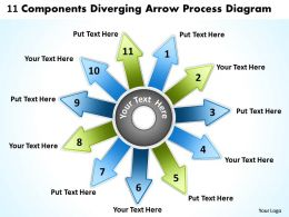 11 components diverging arrow process diagram Circular Flow Layout PowerPoint templates