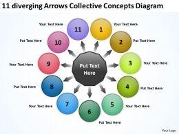 11 diverging arrows collective concepts diagram Circular Spoke PowerPoint templates