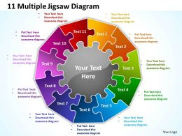 11 multiple jigsaw diagram powerpoint templates graphics slides 0712