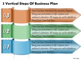 1213 Business Ppt Diagram 3 Vertical Steps Of Business Plan Powerpoint Template