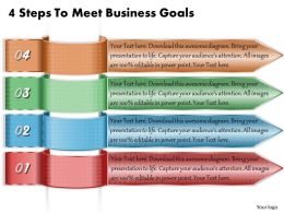 1213 Business Ppt Diagram 4 Steps To Meet Business Goals Powerpoint Template