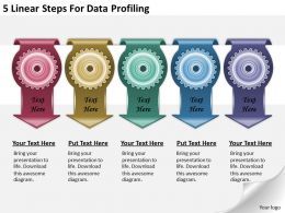 1213_business_ppt_diagram_5_linear_steps_for_data_profiling_powerpoint_template_Slide01