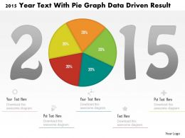 1214 2015 Year Text With Pie Graph Data Driven Result Powerpoint Slide