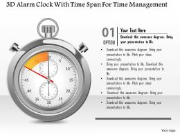 1214 3d Alarm Clock With Time Span For Time Management Powerpoint Template