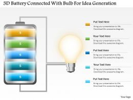 1214 3d Battery Connected With Bulb For Idea Generation Powerpoint Slide
