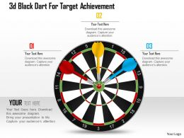 1214 3d Black Dart For Target Achievement Powerpoint Template