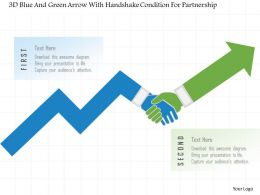 1214 3d Blue And Green Arrow With Handshake Condition For Partnership Powerpoint Template